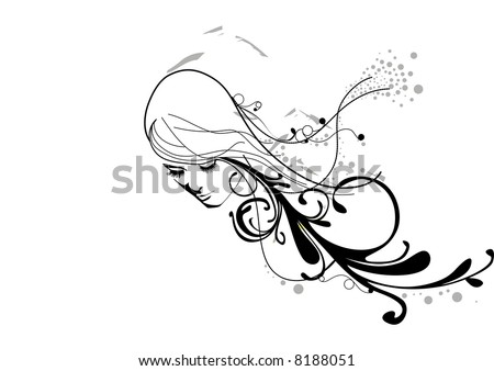 vector - head of a girl with floral hair - stock vector