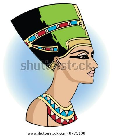 vector head of egyptian queen nefertiti - stock vector