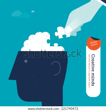 Vector head with hand putting the missing piece. Vector illustration Eps10 file. Global colors. Text and Texture in separate layers. - stock vector