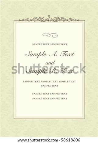 Vector header and frame with sample text. Perfect as invitation or announcement. All pieces are separate. Easy to change colors. - stock vector