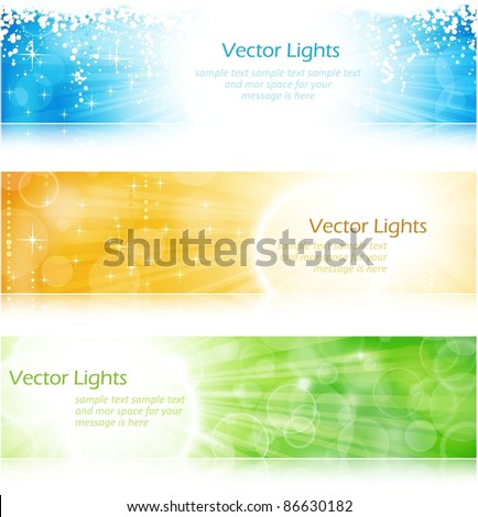 Vector header / banner light burst banner set in green, blue and gold for festive occasions with copyspace. EPS10 background with transparencies. - stock vector