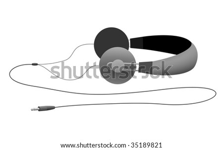 Vector headphones on their side with the full cord - stock vector