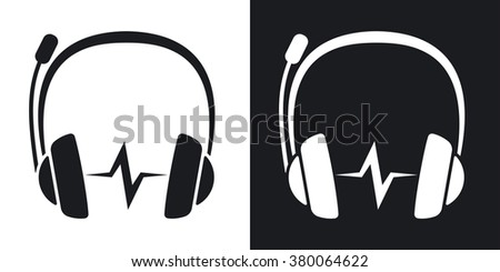 Vector headphones with microphone and sound wave icon. Two-tone version on black and white background - stock vector