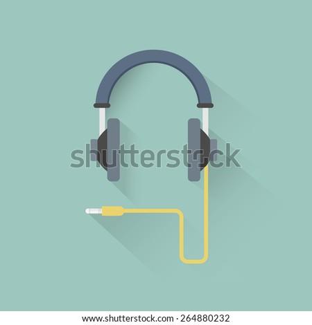 Vector headphones with yellow cord. - stock vector