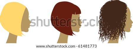 vector heads, haircuts - stock vector