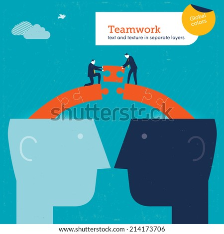 Vector heads with puzzle bridge. Vector illustration Eps10 file. Global colors. Text and Texture in separate layers. - stock vector