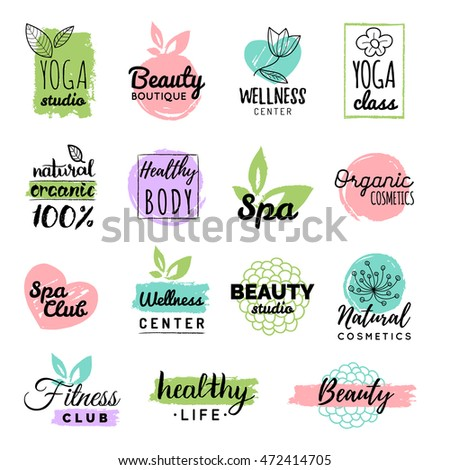 Vector Health And Beauty Care Logos Or Labels Spa Yoga Centers Badges Wellness