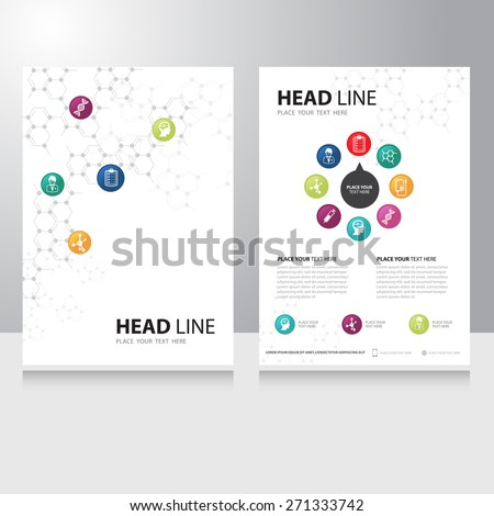 Vector healthcare medical and science technology Brochure Flyer design template with chemical molecule background - stock vector