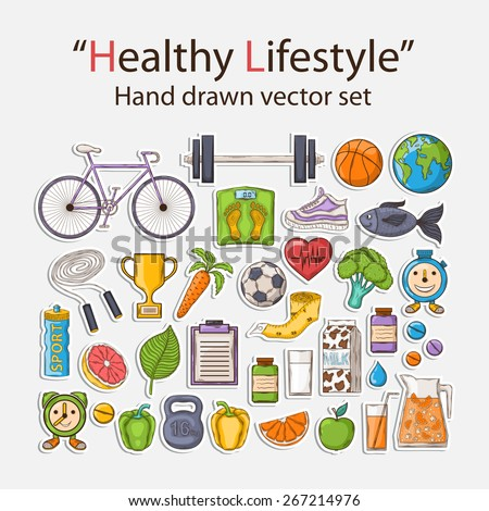 Vector Healthy lifestyle sticker set with shadow.With bicycle,carrot, orange,grapefruit,juice,milk,sports,apple,pepper,jump rope,sneakers,fish,vitamins,measuring tape,cup,leaf,earth.Sport activities. - stock vector