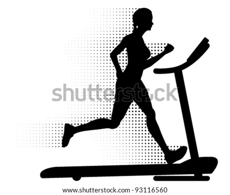 Vector healthy young woman running on a modern treadmill at great speed with halftone pattern motion trails. Silhouette. - stock vector