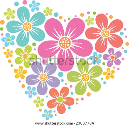 vector heart from floral pattern, colored silhouette - stock vector
