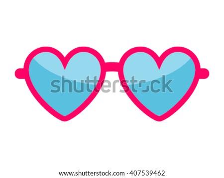 Vector heart glasses isolated on white. Heart glasses. Hipster heart glasses. Summer heart glasses vector illustration. Heart sunglasses isolated vector illustration - stock vector