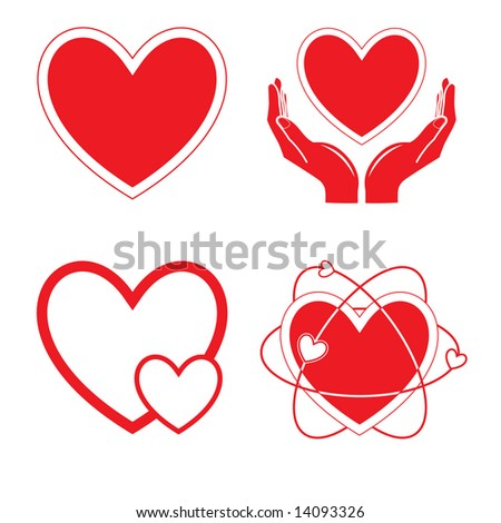 Vector heart icons. Red and white. Simply change. - stock vector
