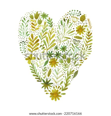 Vector heart made of watercolor flowers. Ecology emblem. Love icon. - stock vector