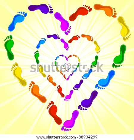 Vector - heart made with the footprints - stock vector