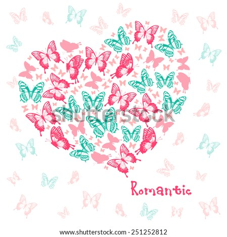 Vector Heart of butterflies. Beautiful design element for Valentines day. - stock vector