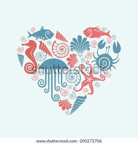 Vector heart of sea fauna icons. Original design element. Decorative illustration for print and web - stock vector