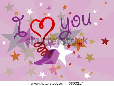 vector heart popping out of a box - stock vector