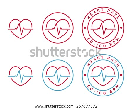 Vector heart rate icons in linear style  - stock vector