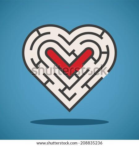 Vector heart shape maze concept - stock vector