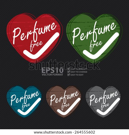 Vector : Heart Shape Perfume Free Badge, Banner, Sign, Tag, Label, Sticker or Icon - stock vector