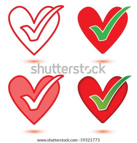 Vector Heart & Tick Icon Set - stock vector