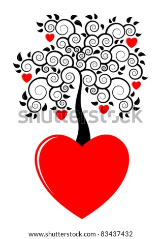 vector heart tree growing from heart on white background - stock vector