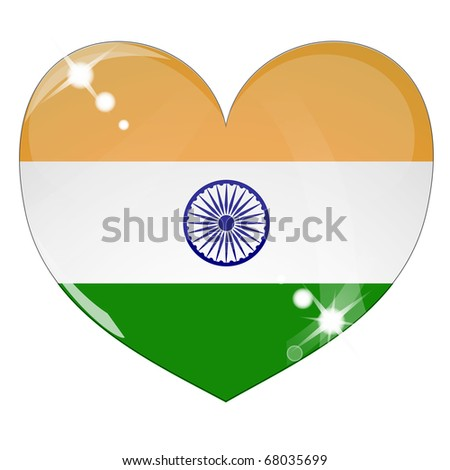 Vector heart with India flag texture isolated on a white background. Flag easy to replace