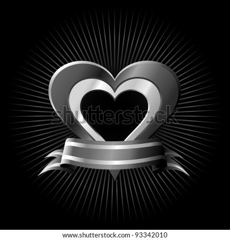 Vector heart with ribbon. Eps8 - Only gradient used. - stock vector
