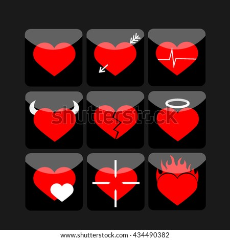 Vector hearts icons set  with black - stock vector