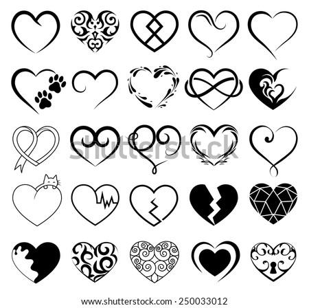 Vector hearts set. - stock vector
