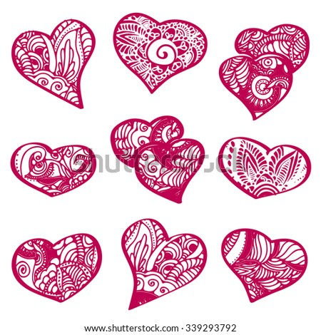 vector hearts set  for happy valentines day or wedding - stock vector