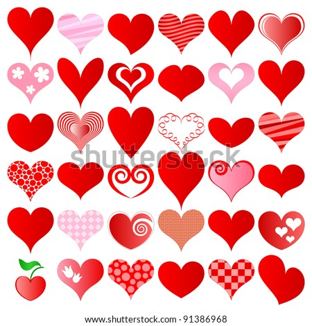 vector hearts set for wedding and valentine design - stock vector