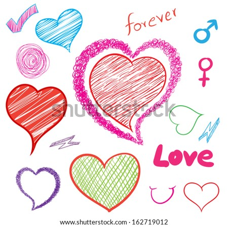 Vector hearts set of design elements. can use for love concept