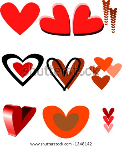 Vector hearts. You can change color and size as you wish. - stock vector