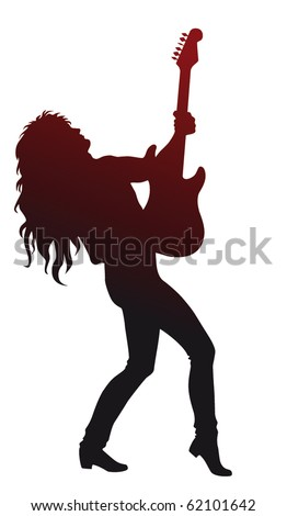 Vector heavy metal guitarist - stock vector