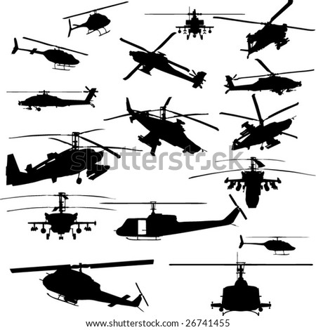 vector helicopter silhouettes - stock vector