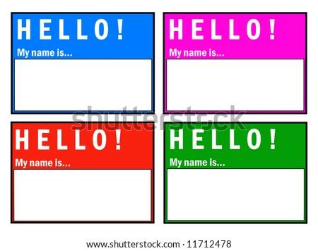 Vector Hello! My Name Is... Badge Set - stock vector