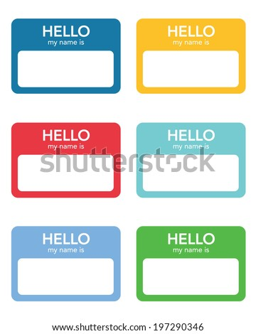 "Vector ""Hello My Name Is..."" Name Tag Set - stock vector"