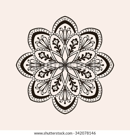 Vector henna ethnic mandala, boho tattoo design in doodle style. Ornamental tribal patterned illustration for adult anti stress coloring pages. Hand drawn zentangle sketch isolated on background.