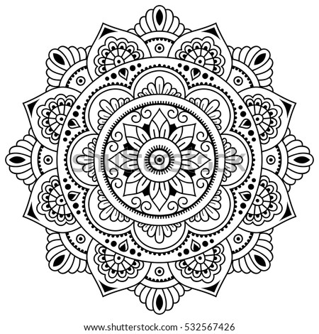 Vector henna tatoo mandala. Mehndi style.Decorative pattern in oriental style. Coloring book page.