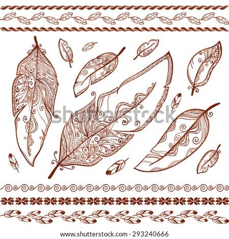 Vector henna tattoo feathers set - stock vector