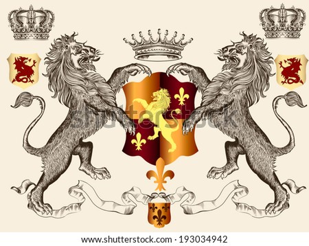 Vector heraldic illustration in vintage style with shield, crown and lion for design - stock vector