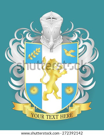 Vector heraldic royal crests coat of arms. Heraldry shield template. - stock vector