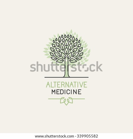 Vector herbal and alternative medicine logo design template in trendy linear style - holistic therapy concept - growing tree illustration - stock vector