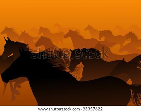 Vector herd of horse in haze. - stock vector