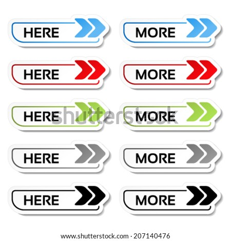 Vector here, more buttons with arrows - labels, stickers on the white background - stock vector