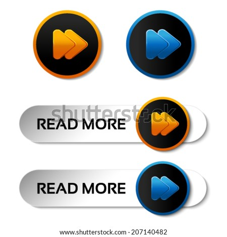 Vector here, read more, next, go, play buttons with arrow - labels, stiskers on the white background  - stock vector
