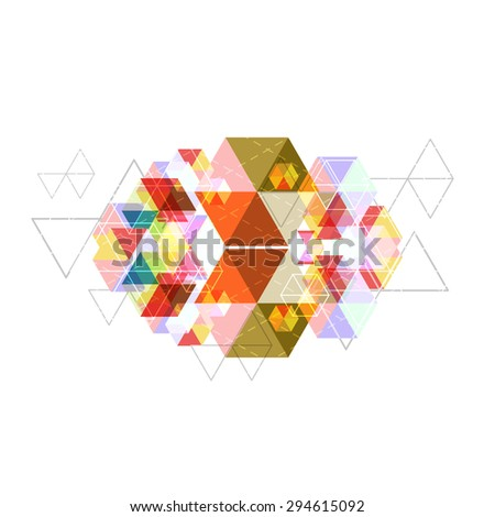 vector hexagon background, geometry triangle abstract polygon  - stock vector