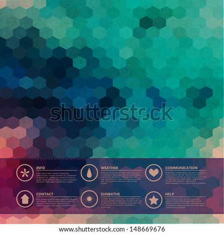 Vector hexagons grunge background. Icons. Infographics composition with geometric shapes. Geometric pattern on the back is complete. Retro geometric hexagon  backdrop. Graphic or website layout  - stock vector
